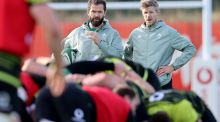 Ireland head coach Andy Farrell and assistant coach Simon Easterby watch the team during training at the IRFU High Performance Centre, Sport Ireland Campus, Blanchardstown. Photograph: Dan Sheridan/Inpho