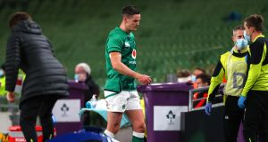 Ireland's Johnny Sexton, as well as Ed Byrne and Rob Henshaw, will miss the  this Sunday's clash with Georgia. Photograph: Billy Stickland/Inpho