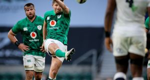 "The Ireland 10 Ross Byrne needs to have one eye on ""the plan"" and the other on what his gut tells him. Keep the forwards on the front foot and build pressure on the scoreboard. Photograph: Billy Stickland/Inpho"