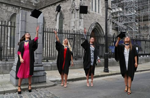 HATS OFF: From left are Tara Sutcliffe, Lisa Fallon, Catriona Sinnott and Hannah Delaney, celebrating their graduation in Business Studies from Technological University Dublin, at St Patrick's Cathedral in Dublin.  Photograph: Nick Bradshaw