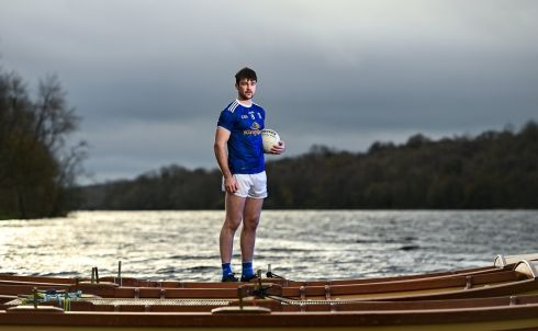 FRESH FROM VICTORY: Thomas Galligan of Cavan at Killykeen Forest Park in Cavan during the GAA Football All Ireland Senior Championship Series national launch. Cavan won the Ulster final at the weekend by beating favourites Donegal, delivering Cavan's first provincial title since 1997. Photograph: Seb Daly/Sportsfile