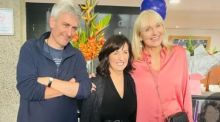RTÉ presenters David McCullagh and Miriam O'Callaghan with retiring reception supervisor Phil Collins