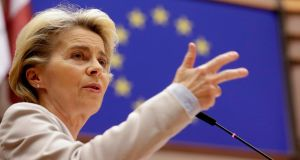 European Commission president Ursula Von Der Leyen speaks at the European Parliament in Brussels on November 25th, 2020. Photograph: Olivier Hoslet/AFP/Getty Images.