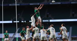 Ireland captain  James Ryan wins a lineout during the Autumn Nations Cup against England at  Twickenham. Photograph: Billy Stickland/Inpho