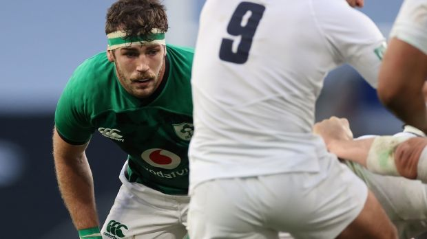Caelan Doris was one of the standout performers for Ireland against England at Twickenham. Photograph: Billy Stickland/Inpho