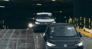 Volkswagen's new all-electric ID.3s being unloaded at Dublin Port. Photo: Paddy McGrath