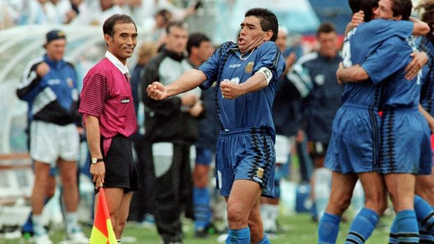Diego Maradona celebrates after Argentina scored a goal against Greece at the 1994 World Cup. Photograph: Getty Images