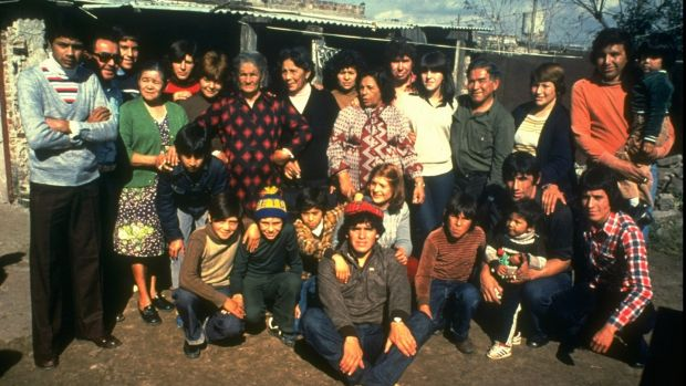 Diego Maradona with family and friends in Argentina. Photo: Allsport UK/Allsport