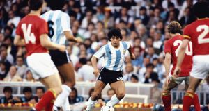 Diego Maradona in action for Argentina against Belgium during the 1982 World Cup at the Nou Camp in Barcelona. Photograph: Steve Powell/Allsport/Getty Images