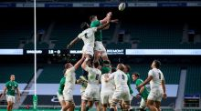 England's Maro Itoje competes in a lineout with Ireland's James Ryan during the Autumn Nations Cup game at  Twickenham. Photograph: Billy Stickland/Inpho