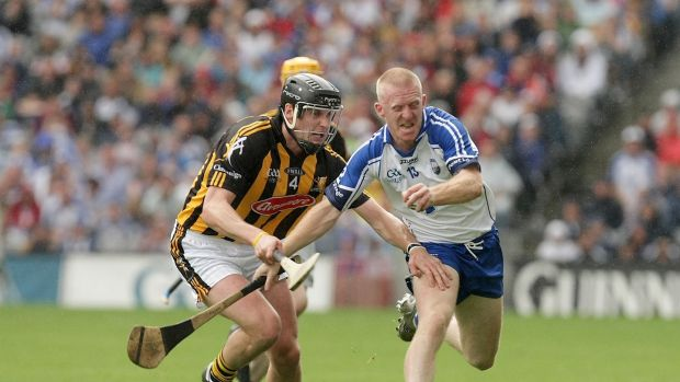 Jackie Tyrrell gets to grips with John Mullane during the 2009 All-Ireland semi-finals. Photograph: Morgan Treacy/Inpho