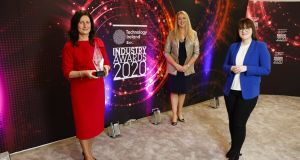 Person of the Year winner, Edel Creely, managing director of Arkphire Services, Una Fitzpatrick, director, Technology Ireland and Jess Kelly, broadcast MC. Photograph: Conor McCabe Photography.