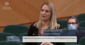 Helen McEntee answers questions on the appointment of Séamus Woulfe. Photograph: Screengrab