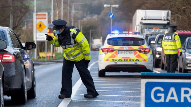 A Garda checkpoint on the approach to the border town of Lifford in Co Donegal. Photograph: Joe Dunne