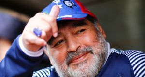 Diego Maradona in 2019 as head coach of Gimnasia y Esgrima La Plata. Photograph: Marcos Brindicci/Getty Images