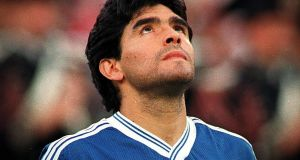 Diego Maradona during the 1990 World Cup in Italy. Photograph:  ©INPHO/Billy Stickland