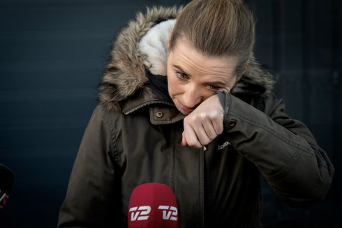 A tearful Denmark prime minister Mette Frederiksen after a visit to an empty mink farm near Kolding. Photograph: Mads Nissen/EPA