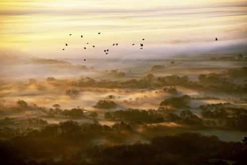 The sun rises over a foggy Worcestershire as seen from the Malvern Hills. Photograph: Jacob King/PA