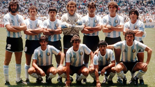The Argentina team before the 1986 World Cup final against West Germany with Jorge Valdano to the right of the front row with Diego Maradona standing behind him. Photograph: Bongarts/Getty Images