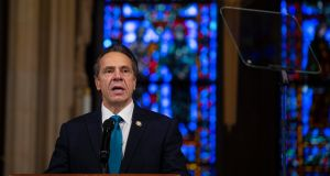 New York governor Andrew Cuomo speaks at the Riverside Church in New York. Photograph: Gregg Vigliotti/The New York Times