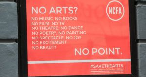 A Save the Arts poster at the Irish Film Institute in Dublin. Photograph: Gareth Chaney/Collins