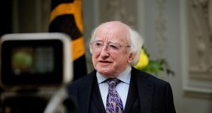 President Michael D Higgins addressing a virtual meeting of tourism industry experts organised by the Irish Hospitality Institute. Photograph: Maxwells.