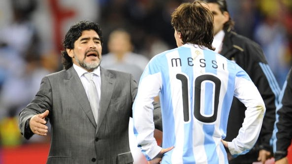 As manager of the Argentina team in 2010, Diego Maradona embraces Lionel Messi after they lose the World Cup quarter-final to Germany. File photograph: Getty Images