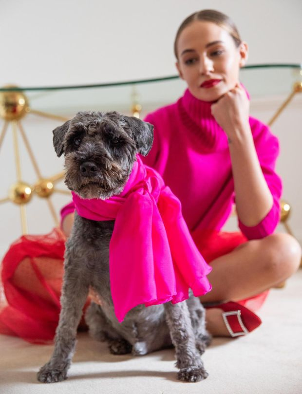Paddy wearing Amia Love Heart silk wrap by Louise Kennedy, which is made in Ireland. Photograph: Barry McCall