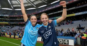Dublin's Sinéad Goldrick and Ciara Trant celebrate after winning the Ladies All-Ireland SFC final against Galway at Croke Park on September 15th, 2019. Photograph: Bryan Keane/Inpho