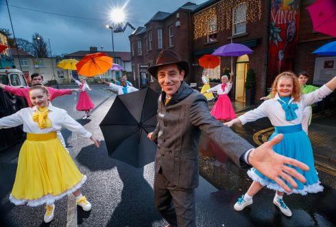 Late Late Toy Show 2020: Children from Spotlight Stage School rehearse Singin' in the Rain with show host Ryan Tubridy. Dublin. Photograph: Andres Poveda