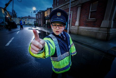 Late Late Toy Show 2020: Junior Garda Matthew McHugh on set for the recording of a performance of Singin' in the Rain. Photograph: Andres Poveda