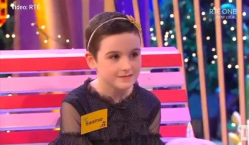 Late Late Toy Show 2020: Saoirse Ruane recieved a trip to Disneyland after speaking to host Ryan Tubridy about her brave battle with a tumour over the past year. Photograph: RTÉ screenshot