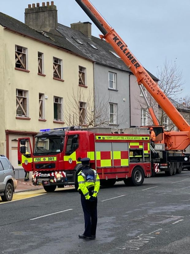 Emergency services at the scene in Tralee where a man died and several others were injured after a building partially collapsed. Photograph: Domnick Walsh