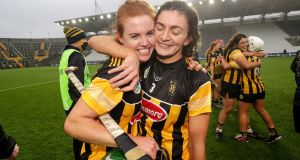 Kilkenny's Collette Dormer and Claire Phelan celebrate  after the victory over Cork in the Liberty Insurance All-Ireland senior camogie semi-final at  Páirc Uí Chaoimh. Photograph: Laszlo Geczo/Inpho