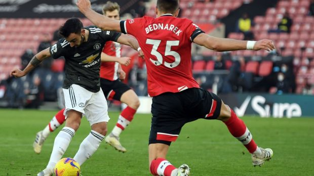 Bruno Fernandes pulls one back for Manchester United against Southampton. Photograph: Mike Hewitt/Getty/AFP