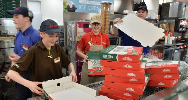 Supermac's and Papa John Pizza Counter at the Kinnegad Plaza: City centre locations have been hit hard but turnover and footfall in out-of-town outlets has held up relatively well.  Photograph: Alan Betson