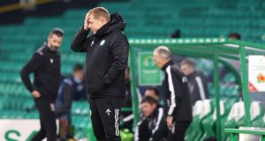 Celtic manager Neil Lennon during the Scottish Premier League match against Ross County at Celtic Park, Glasgow on Sunday. Photograph: Jeff Holmes/PA Wire
