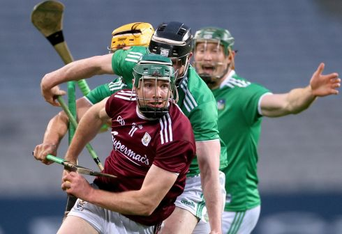 CATCH ME IF YOU CAN: Limerick's Tom Morrissey, Declan Hannon and William O'Donoghue challenge Galway's Cathal Mannion during the All-Ireland senior hurling semi-final at Croke Park on Sunday. Limerick booked a date with Waterford in the final with a three-point victory. Photograph: James Crombie/Inpho