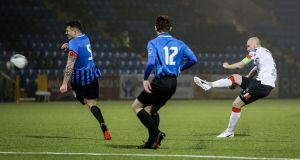 Dundalk's Chris Sheilds scores a goal against Athlone Town in their FAI Cup semi-final clash at Athlone Town Stadium on Sunday. Photograph: Inpho