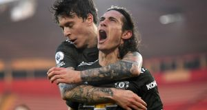 Edinson Cavani's brace saw Manchester United come from behind to beat Southampton. Photograph: Mike Hewitt/PA
