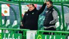 Celtic manager Neil Lennon (left) looks on at his side's defeat to Ross County at Celtic Park in the Betfred Cup last weekend. Photograph: Getty