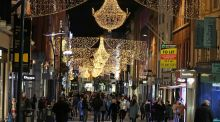 Dublin's Grafton Street pictured in November as its Christmas lights were switched on, but non-essential shops remained closed. Photograph:  Nick Bradshaw / The Irish Times