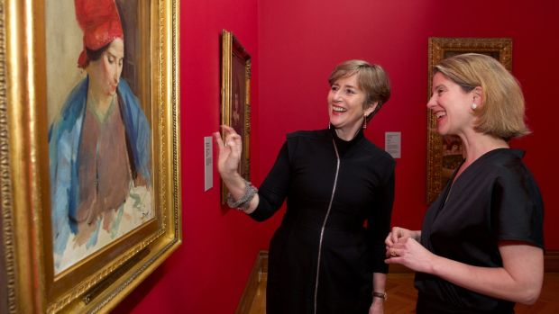Dr Barbara Dawson, director of the Hugh Lane Gallery, left and Dr Caroline Campbell, director of collections and research, National Gallery London at the opening of The Lane Legacy exhibition at the Hugh Lane Gallery, Dublin in 2020. Photogrph: Damien Eagers / The Irish Times