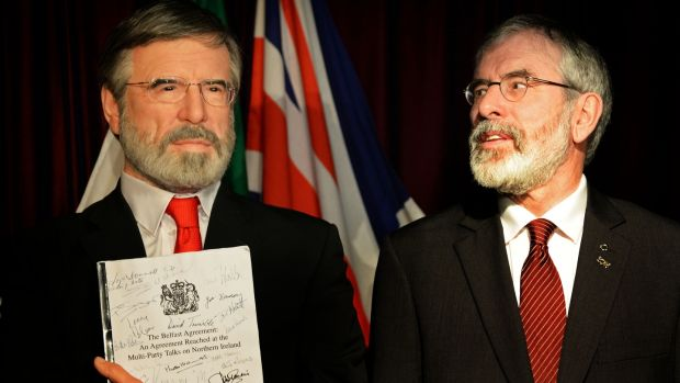 Sinn Féin's Gerry Adams standing alongside the completed wax figure of himself, at the National wax Museum in Dublin. Photograph: Eric Luke / The Irish Times