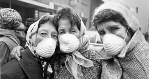 A protest against government inaction over smog levels in Dublin, 1988. Photograph: Peter Thursfield