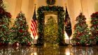 "The White House Christmas decorations, themed ""America the Beautiful"". Photograph: Doug Mills/New York Times"