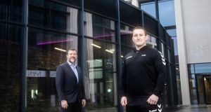 Emmet Foley, developing manager at Penrose Dock, of the JCD Group, and Luke Dennehy, founder of Dennehy's Health and Fitness in Penrose Dock, Cork, where Dennehy will open a new branch in February. Photograph: Darragh Kane