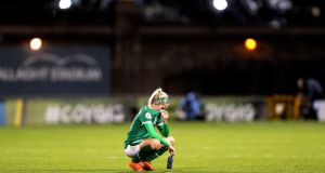 Denise O'Sullivan looks dejected after Ireland's defeat to Germany. Photograph: Laszlo Geczo/Inpho