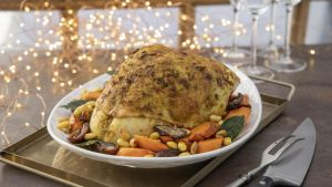 Roast turkey crown, ras-el-hanout, carrots, dates and almonds. Photograph: Harry Weir