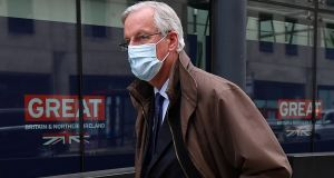 EU chief negotiator Michel Barnier leaves a conference centre in central London as talks continue. Photograph: Justin Tallis/AFP via Getty